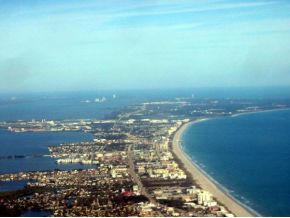 Aerial view of beach and buildings